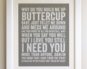 FRAMED Lyrics Print - The Foundations, Build Me Up Buttercup, - 20 Colours options, Black/White Frame, Wedding, Anniversary, Valentines