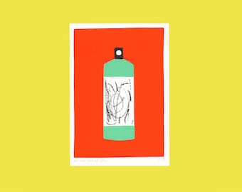 A screen print of a very bright spray can