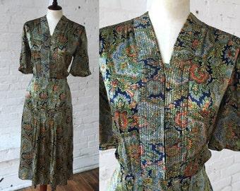 Vintage 1920s-1930s Paisley Dress
