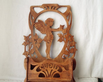 cupid art nouveau treen antique fretwork wall hanging candle box wall pocket letter holder art wood victorian
