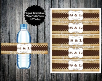 Digital  Personalized Vintage Brown Wedding Water Bottle Labels 8 x 2 Inches