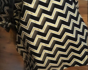 Black Gold Chevron Infant Carrier Cover / Gender Neutral Baby Boy Girl Shower Gift / Car Seat Canopy Tent / Modern Metallic