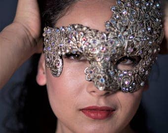 venetian paper mache mask with venice lace and swarovski, furnishing mask and party mask, unique piece, handmade, venice mask,
