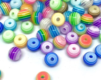 100 beads, striped, 6 mm