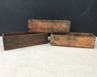 Cheese Box - Vintage Wood Box - Small Wooden Box - Cheese Box - Windsor Box - Collectible - Country - Farmhouse - Windsor Cheese - Kraft