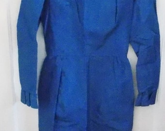 """Now Only 10 Dollars! Elegant 1960's  33"""" Bust Royal Blue Taffeta Formal Dress With Ruffled Long Sleeves"""
