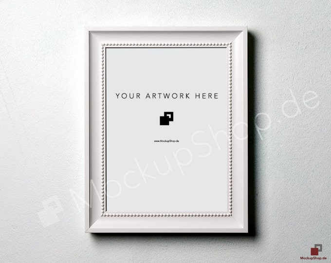 10y14 WHITE FRAME MOCKUP / horizontal new White Wooden Wall / Frame Mockup /  White Photo Frame Mockup / Instand Download / FrameMockup