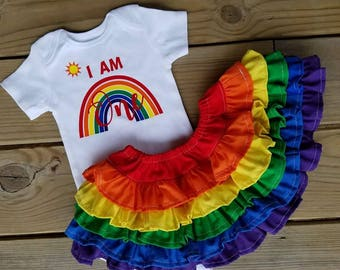 1st birthday outfit, I am ONE rainbow onesie and rainbow ruffle skirt set, 1st birthday set, 1st birthday rainbow ruffle skirt