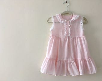 Vintage Light Pink Swiss Dot Sleeveless Dress - Size 4T