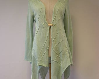 The hot price. Asymmetrical mint linen cardigan, L size.