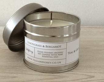 Handmade soy candle with unbleached cotton/paper wick and pure essential oils