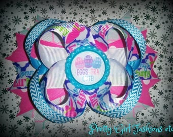 "5"" Easter Egg boutique stacked hair bow on a single prong alligator clip"