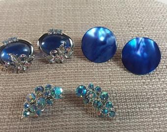 Beautiful Blues Vintage Earrings Lot