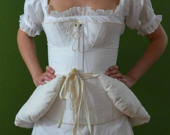 Pillow-cotton padding. Substructure for Victorian clothing. Pillow for hips. Padding for skirts. Bustle pad. 1700 dresses