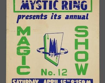 1960s Screenprint No. 12 Magic Show Mazda Mystic Ring Magic Show Poster Genuine Illusionist 14 x 22