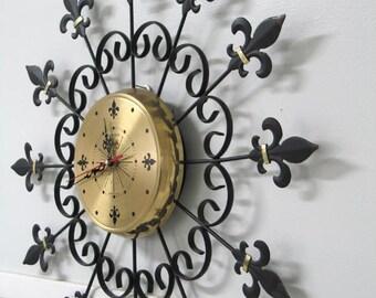 Mid Century Wrought Iron Wall Clock