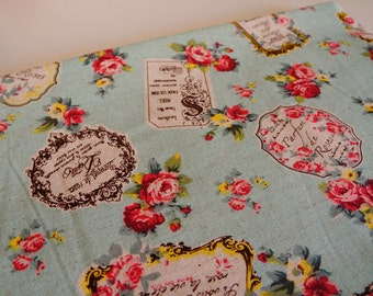 Half yard--Sewing lightweight cotton canvas fabric--elegant vintage rose pattern