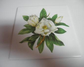 Vintage  5 3/4 inch  flower tile with green felt on back