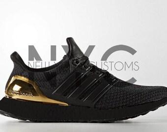 Black Olympic Gold Medal Adidas Ultra Boost Runner Blacked Out Custom Men