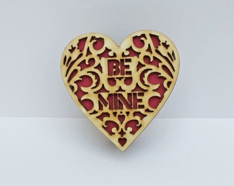 Heart Box 'Be Mine' Handmade Laser Cut.