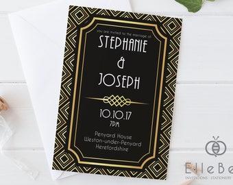 Art Deco Wedding Invitation // Art Deco Wedding Invites // 1920s Wedding // Earl's Court Collection