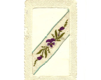 French Antique Embroidered Postcard, Embroidery and Lace Purple Green Pansy, Flower lllustrated Post Card