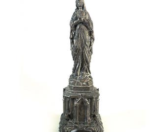 Our Lady of Lourdes Statue, French Holy Crowded Virgin Mary Statuette, DSR, Spelter Souvenir Rosary Basilica Church