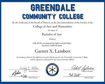 Greendale Community Diploma - Joke Diploma, Graduation Gift, College Gift, Dorm Gift, Community TV Show