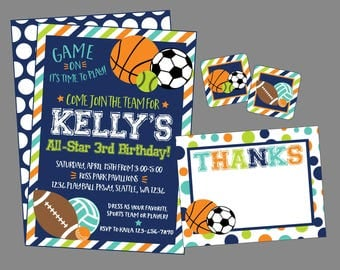 All Star Invitation for Sports Birthday Party. Digital, Personalized Sports Party Invitation. Birthday, Baby Shower, Team Party.