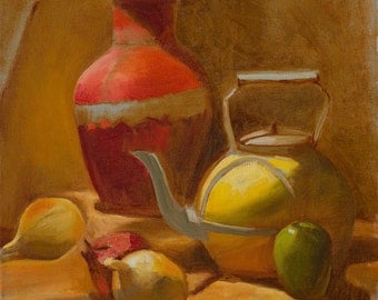 Still life, oil painting, oil on canvas, light and shadow, urn and a kettle, warm colors and light, original oil painting 35X45 cm