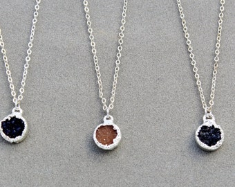 Silver Druzy pendant - 10mm druzy pendant necklace - gift for her under 15  - 18 inch silver chain - round silver Drusy pendant necklace