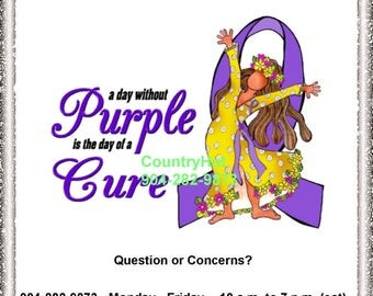 T-shirt - a day without PURPLE is the day of a CURE - Purple Awareness Ribbon - Lupus Fibromyalgia Cancer Cystic Fibrosis