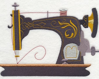 1910 CLASSIC SEWING MACHINE Ornate Old Fashioned, Antique Sewing Machine Embroidered Quilt Square, Art Panel