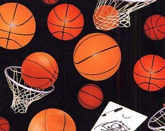 Basketballs, Nets & Plays on Black B/G by Elizabeth Studios-BTY