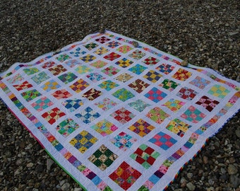 Handmade patchwork quilt, single/twin bed size, 100% cotton all new fabric, bedding home and garden