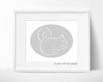 Gray Squirrel Print, Squirrel Line Drawing, Minimalist, Woodland Nursery Art, Forest Wall Art or Wildlife Decor