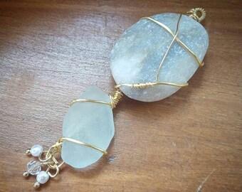 Greek Sea Glass and Stone Pendant
