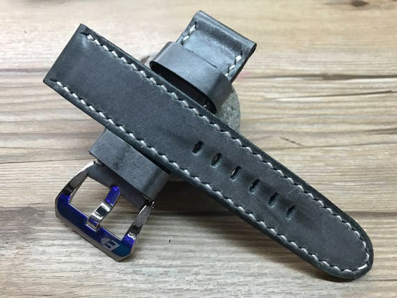 24mm straps, Handmade vintage Gray leather watch band, real leather watch strap, watch strap for Panerai, 24mm, 26mm, Beige stitching