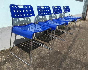 SOLD: Set of Four Italian, 1971 Omstak Stacking Chairs by Rodney Kinsman for Bieffeplast. Vintage/Retro/Mid Century
