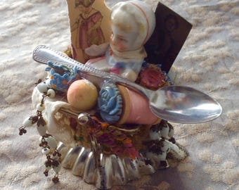 OOAK Coin purse doll mixed media art - altered art