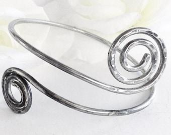 Silver  Armlet, Silver Arm Cuff, Viking Arm Bracelet, Vintage Bracelet, Silver Cuff Bracelet, Spiral  Arm Bracelet, Bohemian Bracelet