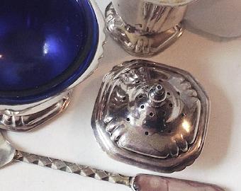 Silver Mustard Pot, Vintage Salt  Pepper Shaker, Salt and Pepper Shakers, Cruet Set, Cottage Chic, Silver Mustard Dish, Silver  Shakers