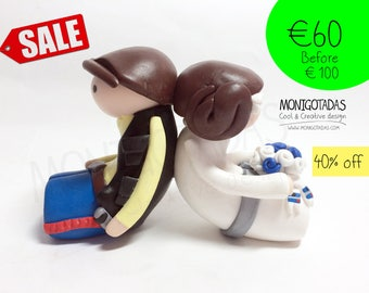 Star Wars Wedding cake topper / Han Solo and Leia wedding cake / Geek Wedding Cake Topper