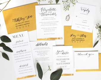 Gold Foil Calligraphy Wedding Invitation Suite / Faux Gold Foil / Brush Lettered / Modern / Printable Wedding Invitation / Save the Date