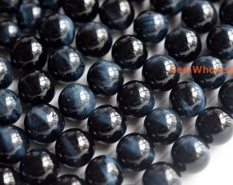 "15.5"" 12mm/14mm Natural Blue tiger eye AAA quality round beads, top quality natural blue tiger eye, dark blue beads, jewelry supply"