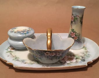 Antique Fine Porcelain Vanity Set With Tray By A. K. France