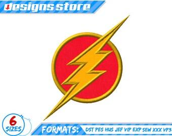 FLASH APPLIQUE DESIGN Superhero Embroidery Machine Logo Justice League Dc SuperFriends