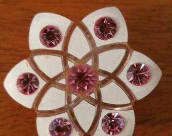 Atomic Mid Century Lucite earrings, clip ons with pink rhinestones