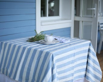 LIMITED EDITION Handmade striped (blue/white) linen tablecloth inspired of living by the Sea