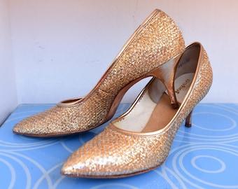 FREE SHIPPING! - Size 7.5 A - Vintage Joyce Metallic Gold Shoes